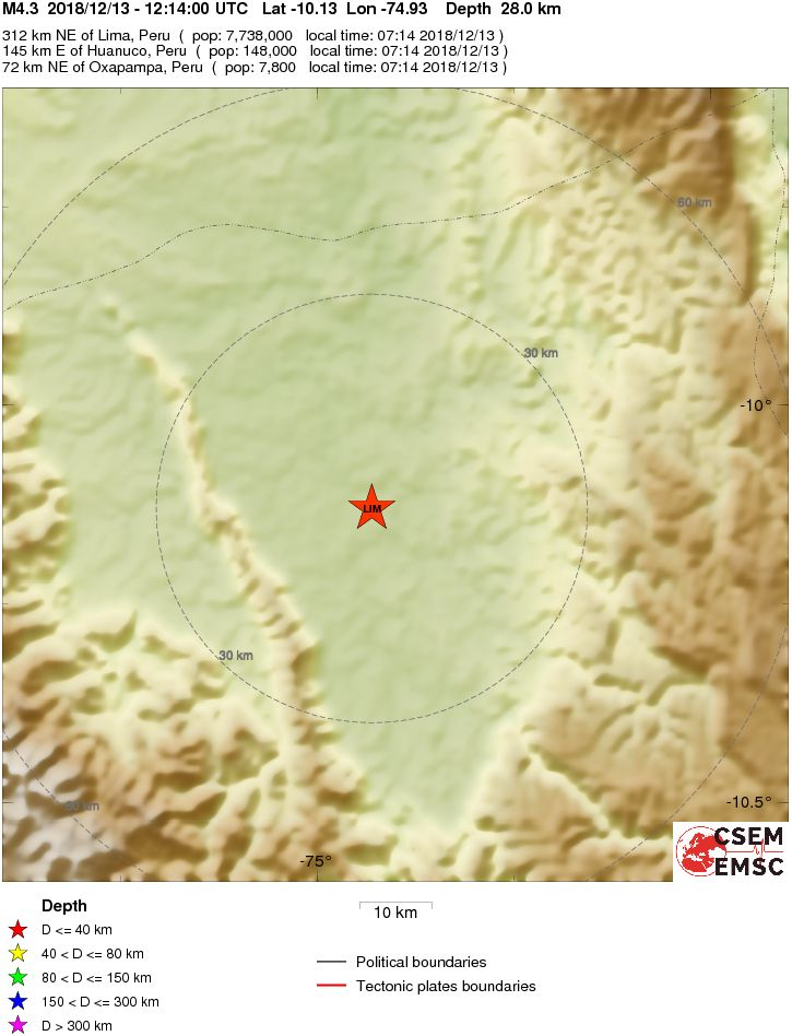 Oxapampa Peru Map.Earthquake Magnitude 4 3 Central Peru 2018 December 13 12 14