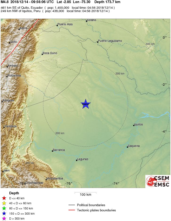 Suno Campus Map.Earthquake Magnitude 4 8 Northern Peru 2018 December 14 09 56